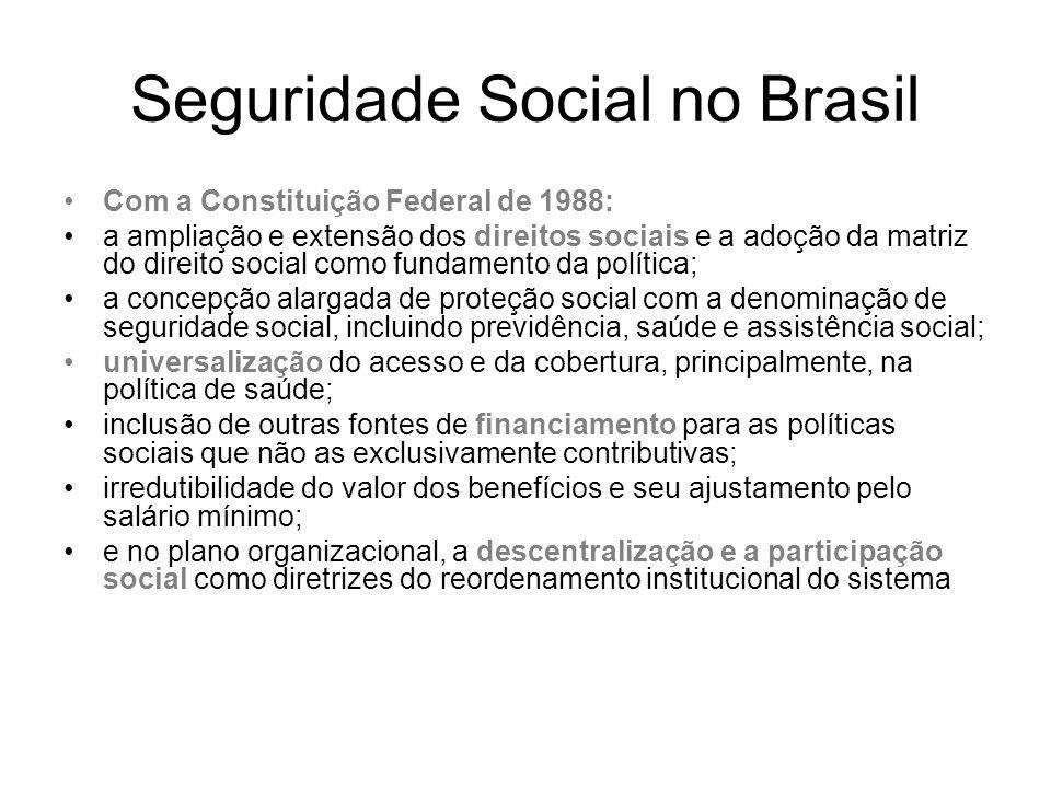 Seguridade Social no Brasil Com a Constituição Federal de 1988: a ampliação e extensão dos direitos sociais e a adoção da matriz do direito social com