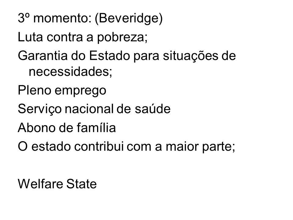 3º momento: (Beveridge) Luta contra a pobreza; Garantia do Estado para situações de necessidades; Pleno emprego Serviço nacional de saúde Abono de fam