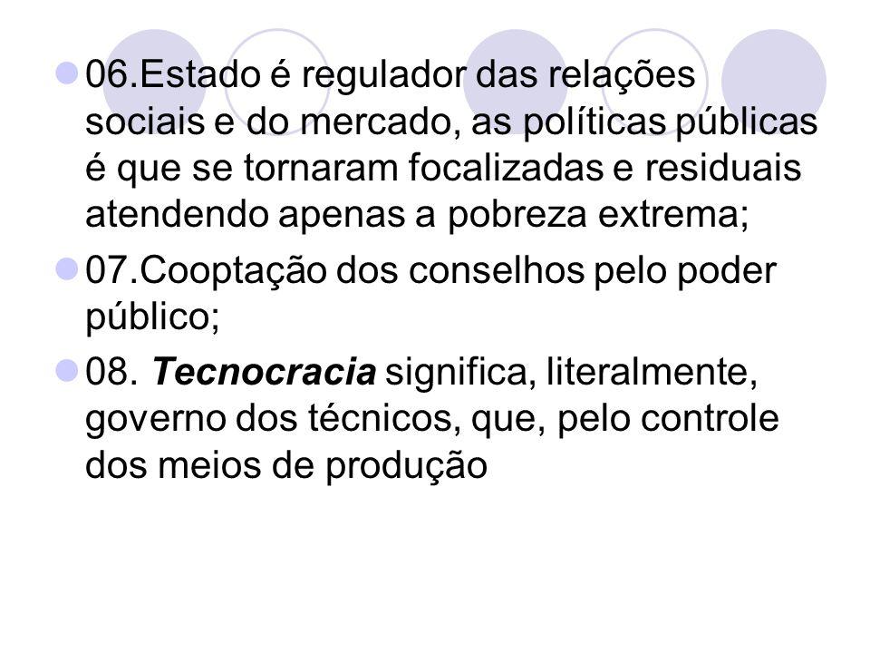 06.Estado é regulador das relações sociais e do mercado, as políticas públicas é que se tornaram focalizadas e residuais atendendo apenas a pobreza ex