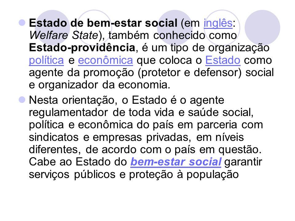Estado de bem-estar social (em inglês: Welfare State), também conhecido como Estado-providência, é um tipo de organização política e econômica que col