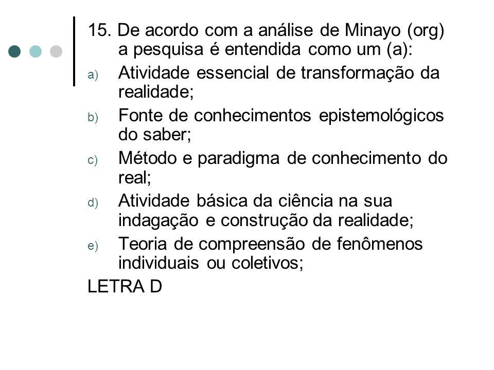15. De acordo com a análise de Minayo (org) a pesquisa é entendida como um (a): a) Atividade essencial de transformação da realidade; b) Fonte de conh