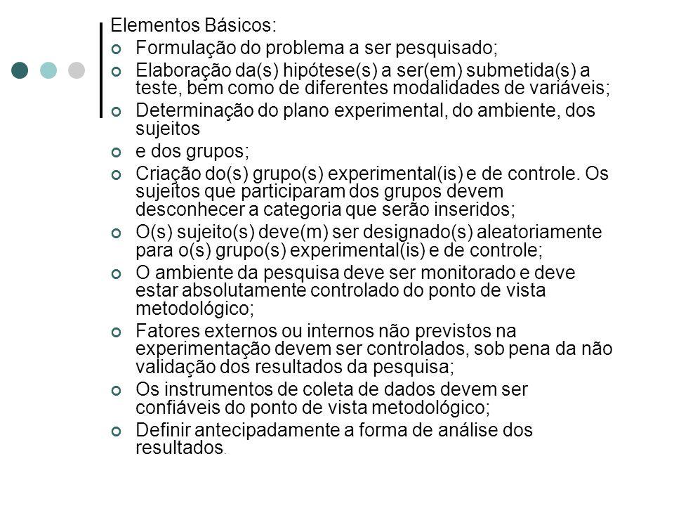 Elementos Básicos: Formulação do problema a ser pesquisado; Elaboração da(s) hipótese(s) a ser(em) submetida(s) a teste, bem como de diferentes modalidades de variáveis; Determinação do plano experimental, do ambiente, dos sujeitos e dos grupos; Criação do(s) grupo(s) experimental(is) e de controle.