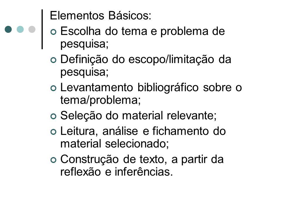 Elementos Básicos: Escolha do tema e problema de pesquisa; Definição do escopo/limitação da pesquisa; Levantamento bibliográfico sobre o tema/problema