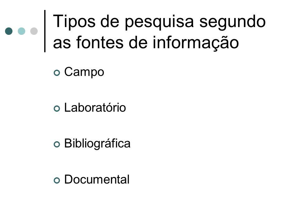 Tipos de pesquisa segundo as fontes de informação Campo Laboratório Bibliográfica Documental