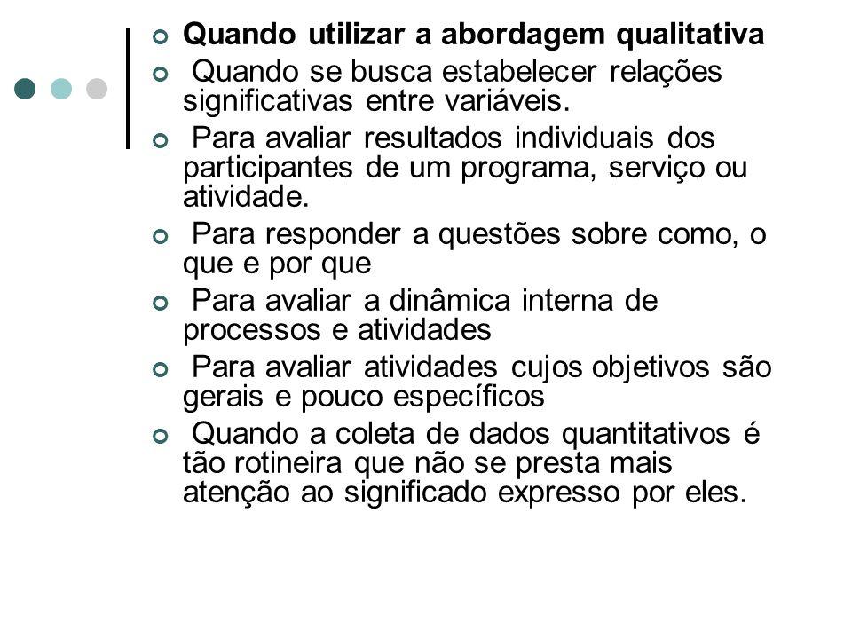 Quando utilizar a abordagem qualitativa Quando se busca estabelecer relações significativas entre variáveis.