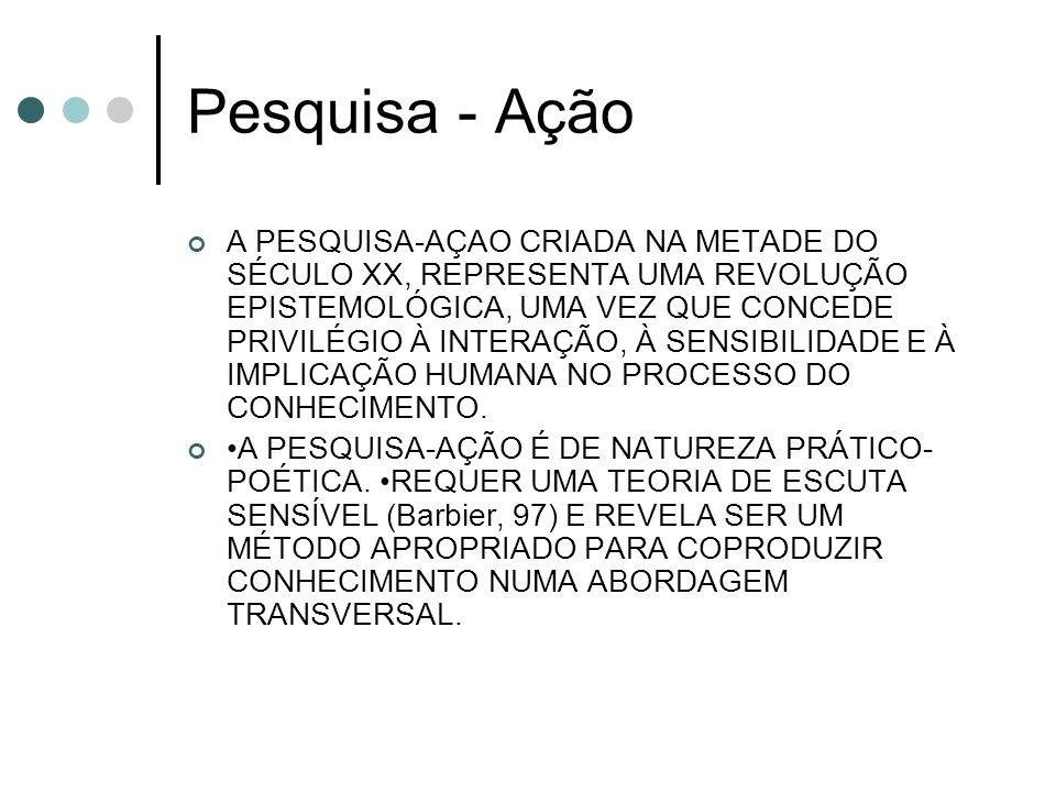 Pesquisa - Ação A PESQUISA-AÇAO CRIADA NA METADE DO SÉCULO XX, REPRESENTA UMA REVOLUÇÃO EPISTEMOLÓGICA, UMA VEZ QUE CONCEDE PRIVILÉGIO À INTERAÇÃO, À SENSIBILIDADE E À IMPLICAÇÃO HUMANA NO PROCESSO DO CONHECIMENTO.