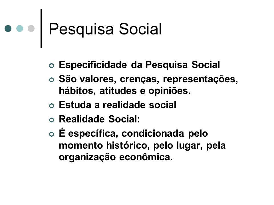 Pesquisa Social Especificidade da Pesquisa Social São valores, crenças, representações, hábitos, atitudes e opiniões. Estuda a realidade social Realid
