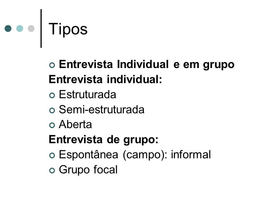 Tipos Entrevista Individual e em grupo Entrevista individual: Estruturada Semi-estruturada Aberta Entrevista de grupo: Espontânea (campo): informal Grupo focal
