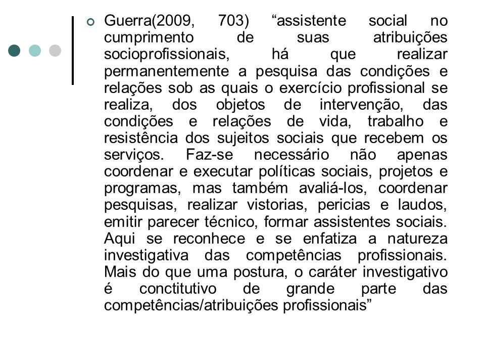 Guerra(2009, 703) assistente social no cumprimento de suas atribuições socioprofissionais, há que realizar permanentemente a pesquisa das condições e