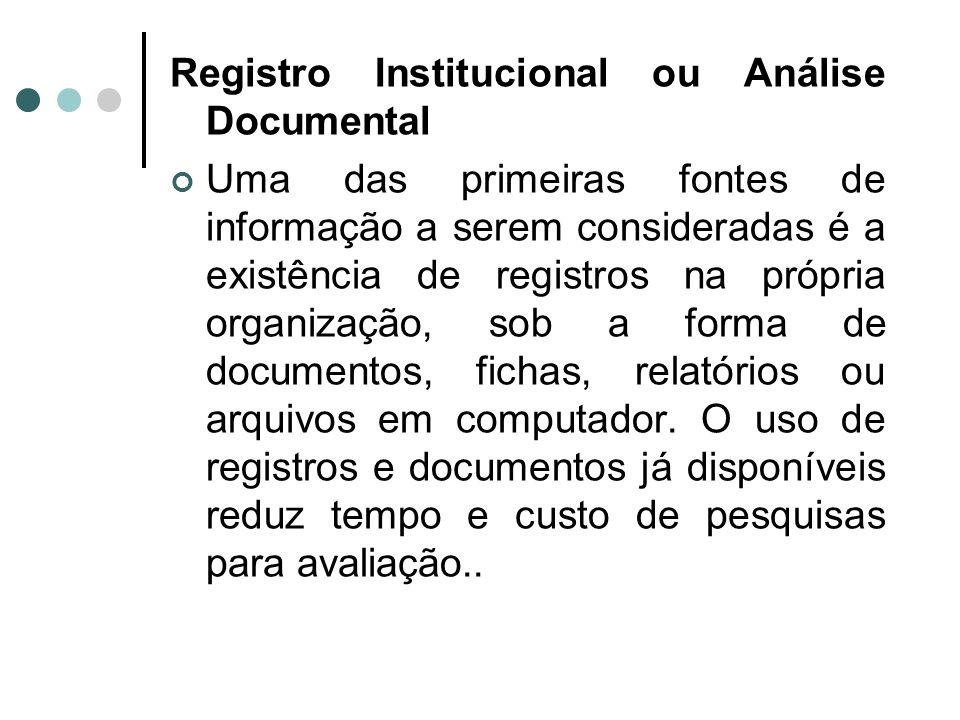 Registro Institucional ou Análise Documental Uma das primeiras fontes de informação a serem consideradas é a existência de registros na própria organização, sob a forma de documentos, fichas, relatórios ou arquivos em computador.