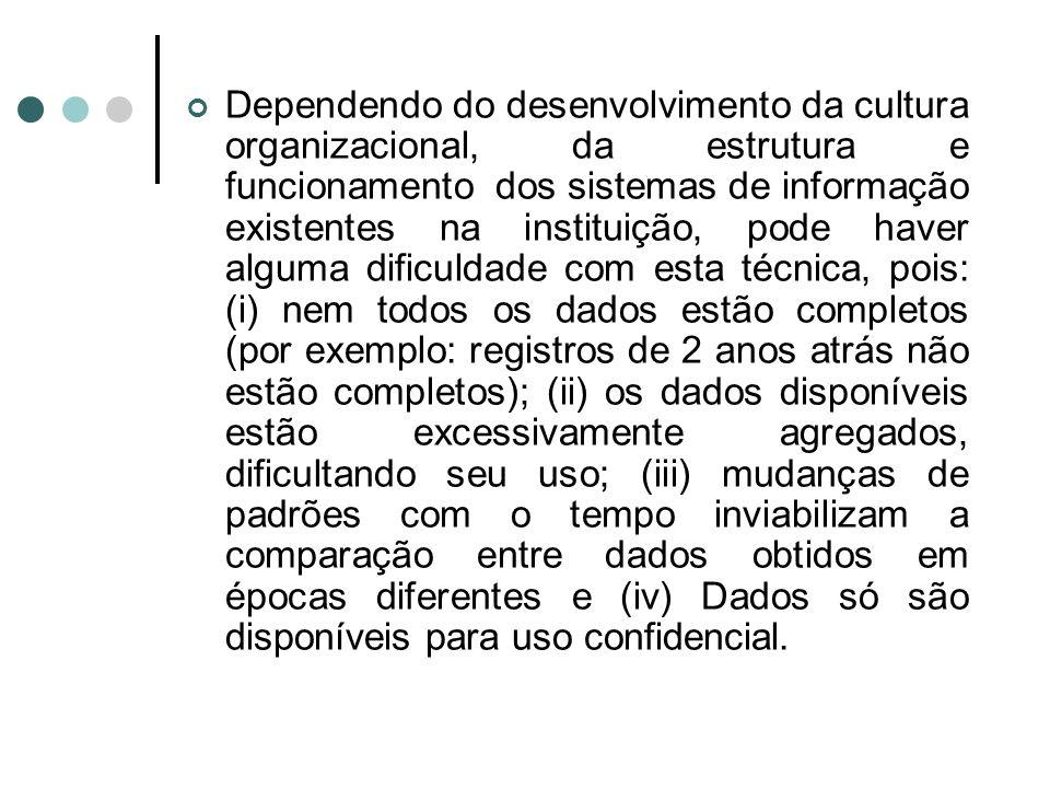 Dependendo do desenvolvimento da cultura organizacional, da estrutura e funcionamento dos sistemas de informação existentes na instituição, pode haver