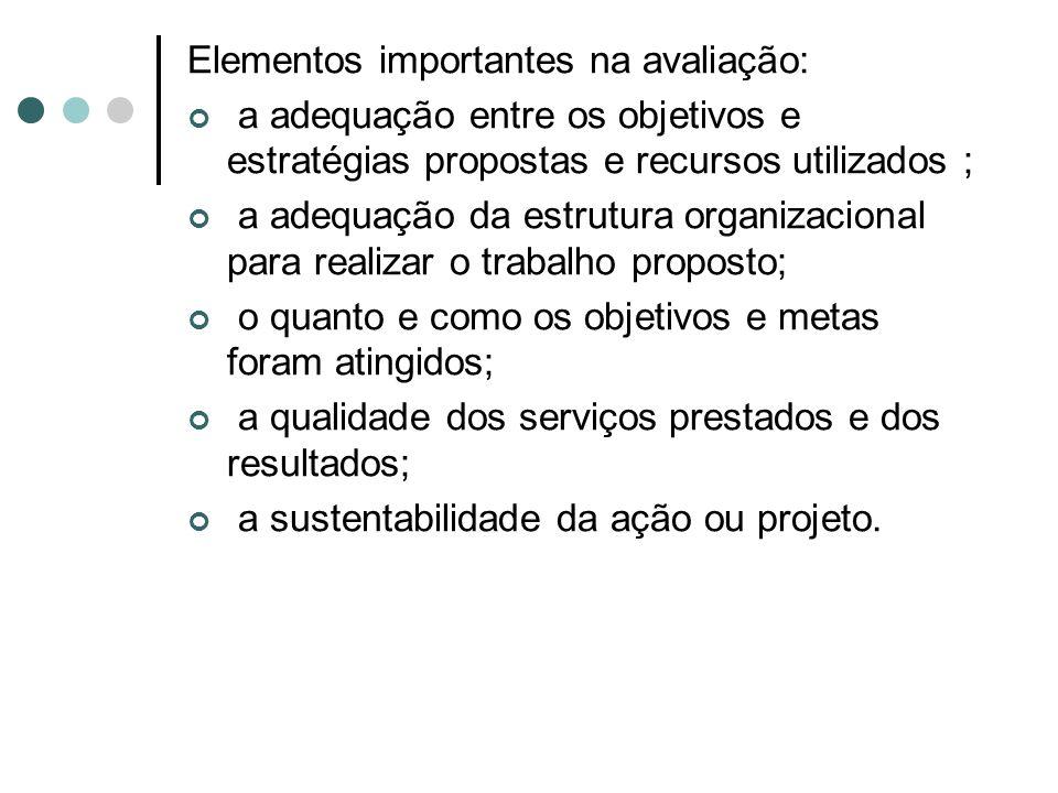 Elementos importantes na avaliação: a adequação entre os objetivos e estratégias propostas e recursos utilizados ; a adequação da estrutura organizacional para realizar o trabalho proposto; o quanto e como os objetivos e metas foram atingidos; a qualidade dos serviços prestados e dos resultados; a sustentabilidade da ação ou projeto.
