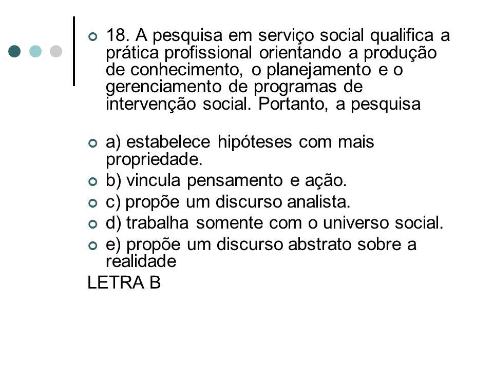 18. A pesquisa em serviço social qualifica a prática profissional orientando a produção de conhecimento, o planejamento e o gerenciamento de programas