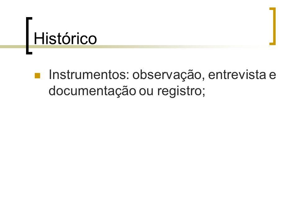 Histórico Instrumentos: observação, entrevista e documentação ou registro;