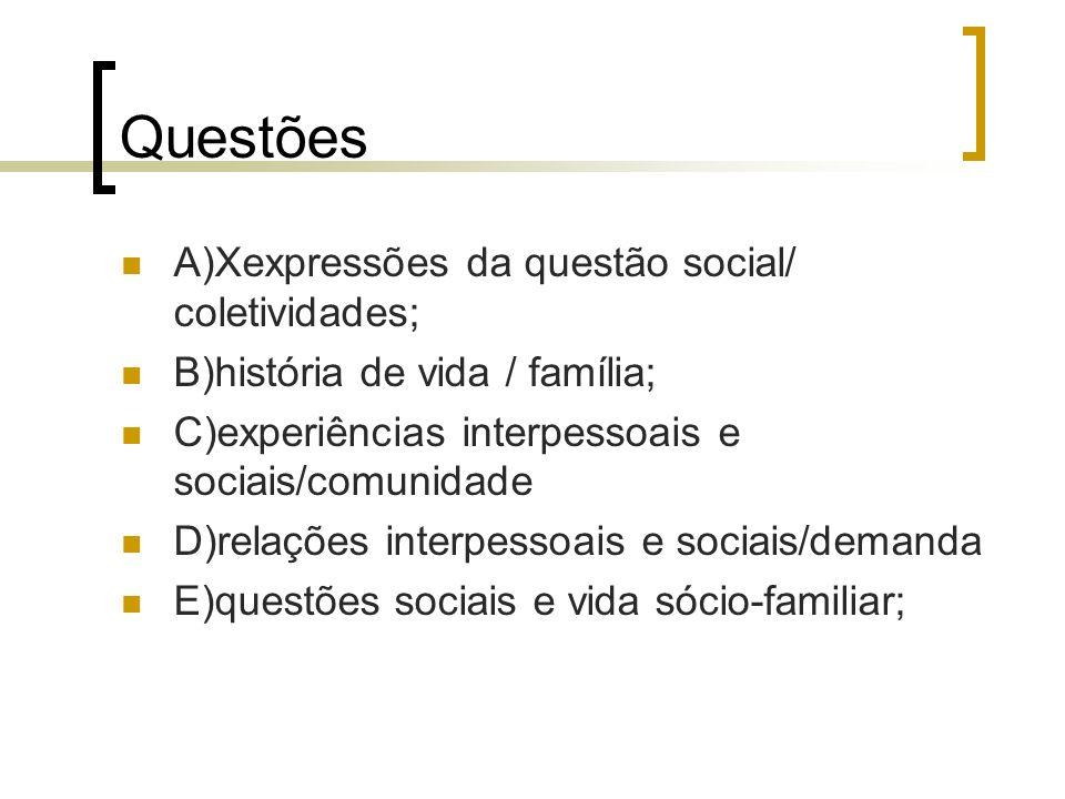 Questões A)Xexpressões da questão social/ coletividades; B)história de vida / família; C)experiências interpessoais e sociais/comunidade D)relações in
