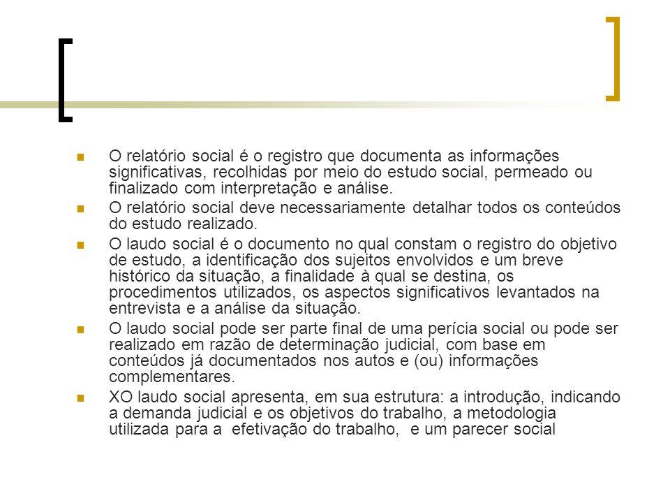 O relatório social é o registro que documenta as informações significativas, recolhidas por meio do estudo social, permeado ou finalizado com interpre