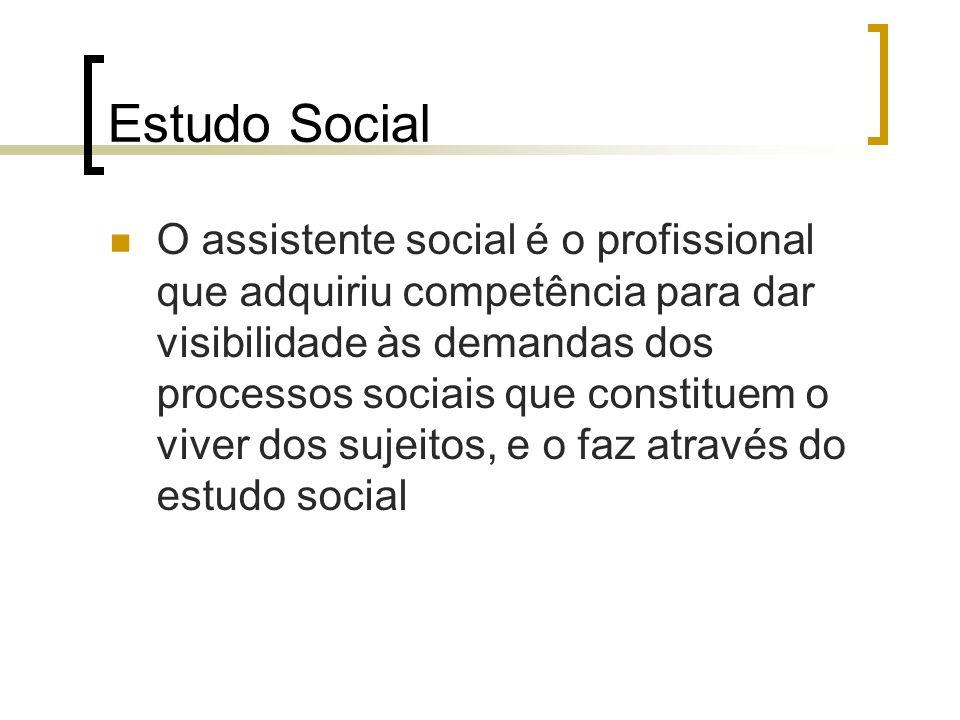 Estudo Social O assistente social é o profissional que adquiriu competência para dar visibilidade às demandas dos processos sociais que constituem o v