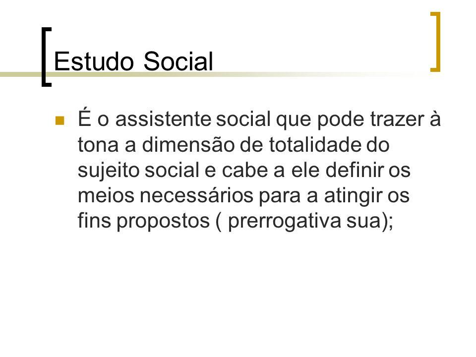 Estudo Social É o assistente social que pode trazer à tona a dimensão de totalidade do sujeito social e cabe a ele definir os meios necessários para a