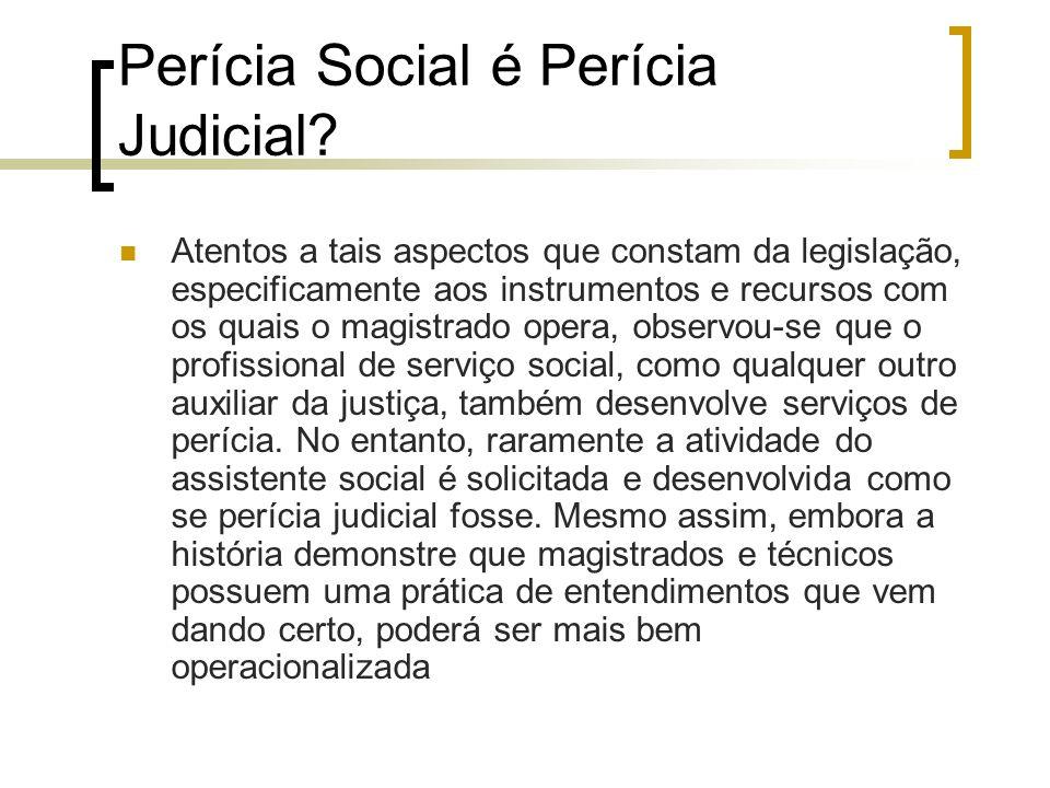 Perícia Social é Perícia Judicial? Atentos a tais aspectos que constam da legislação, especificamente aos instrumentos e recursos com os quais o magis