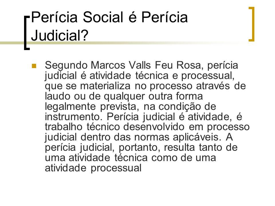 Perícia Social é Perícia Judicial? Segundo Marcos Valls Feu Rosa, perícia judicial é atividade técnica e processual, que se materializa no processo at