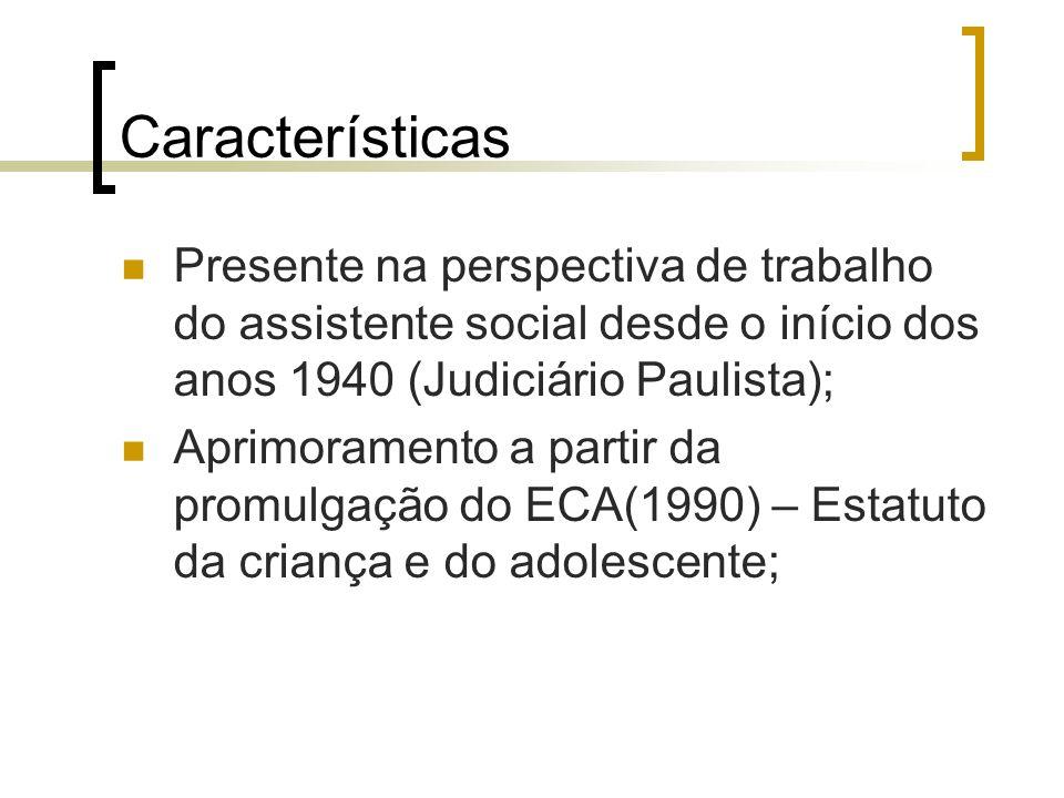 Características Presente na perspectiva de trabalho do assistente social desde o início dos anos 1940 (Judiciário Paulista); Aprimoramento a partir da