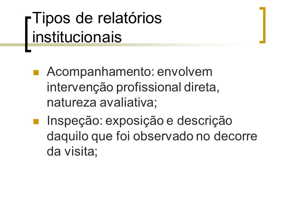 Tipos de relatórios institucionais Acompanhamento: envolvem intervenção profissional direta, natureza avaliativa; Inspeção: exposição e descrição daqu