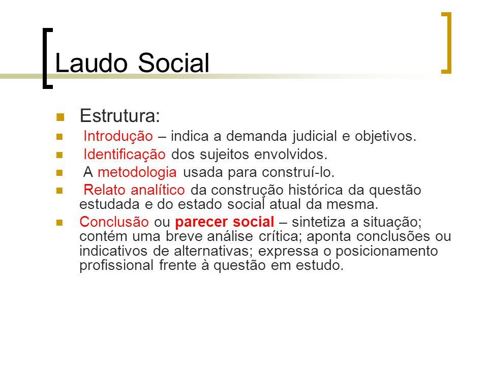 Laudo Social Estrutura: Introdução – indica a demanda judicial e objetivos. Identificação dos sujeitos envolvidos. A metodologia usada para construí-l