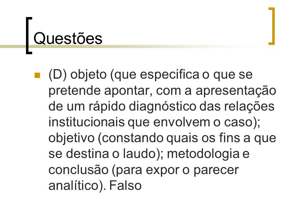 Questões (D) objeto (que especifica o que se pretende apontar, com a apresentação de um rápido diagnóstico das relações institucionais que envolvem o