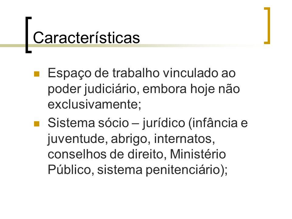 Características Espaço de trabalho vinculado ao poder judiciário, embora hoje não exclusivamente; Sistema sócio – jurídico (infância e juventude, abri
