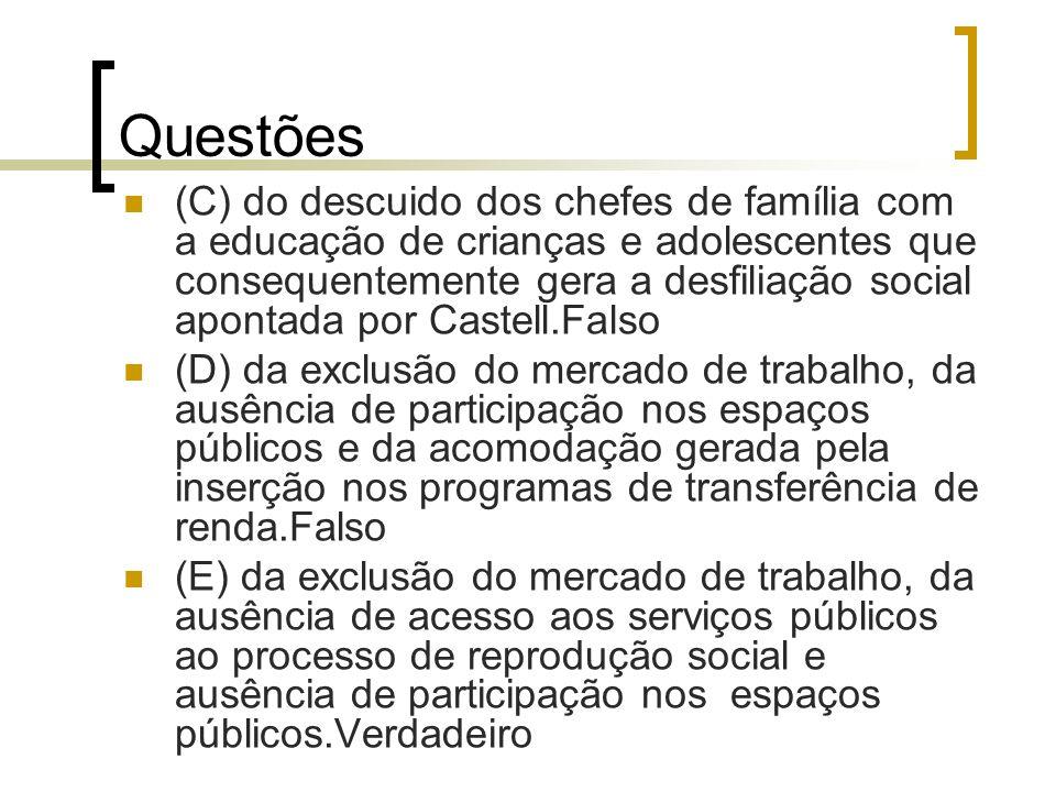 Questões (C) do descuido dos chefes de família com a educação de crianças e adolescentes que consequentemente gera a desfiliação social apontada por C