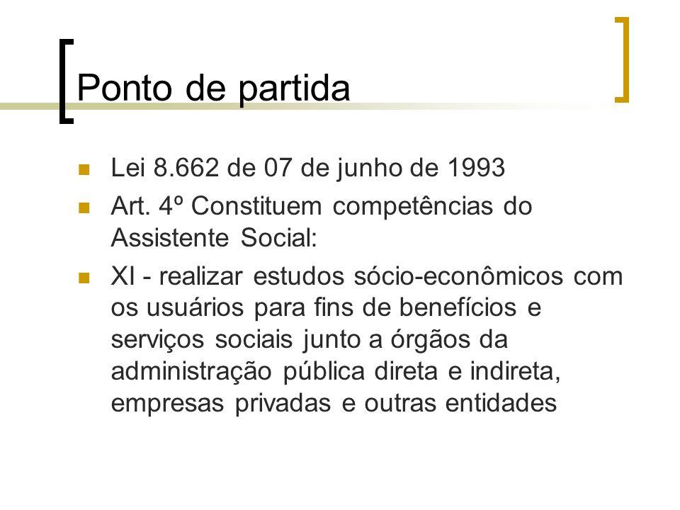 Ponto de partida Lei 8.662 de 07 de junho de 1993 Art. 4º Constituem competências do Assistente Social: XI - realizar estudos sócio-econômicos com os