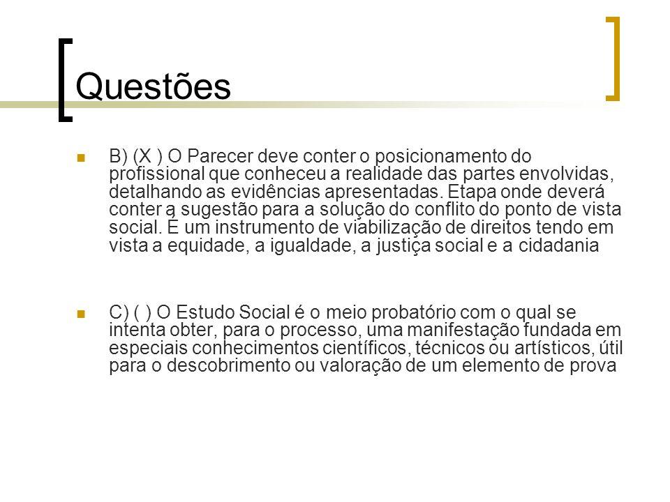Questões B) (X ) O Parecer deve conter o posicionamento do profissional que conheceu a realidade das partes envolvidas, detalhando as evidências apres