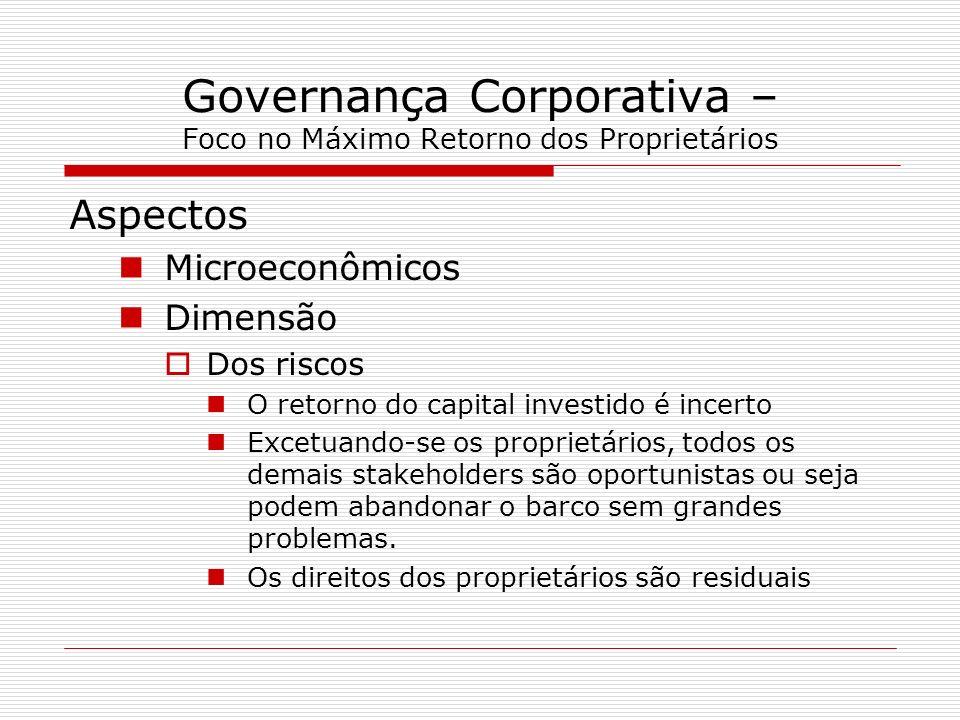 Governança Corporativa – Foco no Máximo Retorno dos Proprietários Aspectos Microeconômicos Dimensão Dos riscos O retorno do capital investido é incert