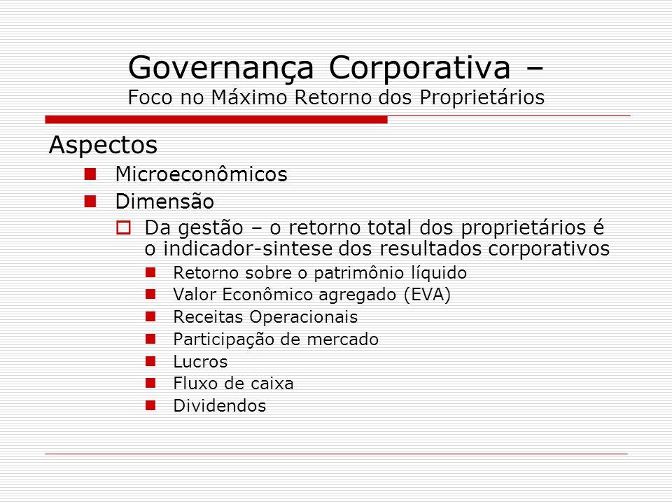 Governança Corporativa – Foco no Máximo Retorno dos Proprietários Aspectos Microeconômicos Dimensão Da gestão – o retorno total dos proprietários é o