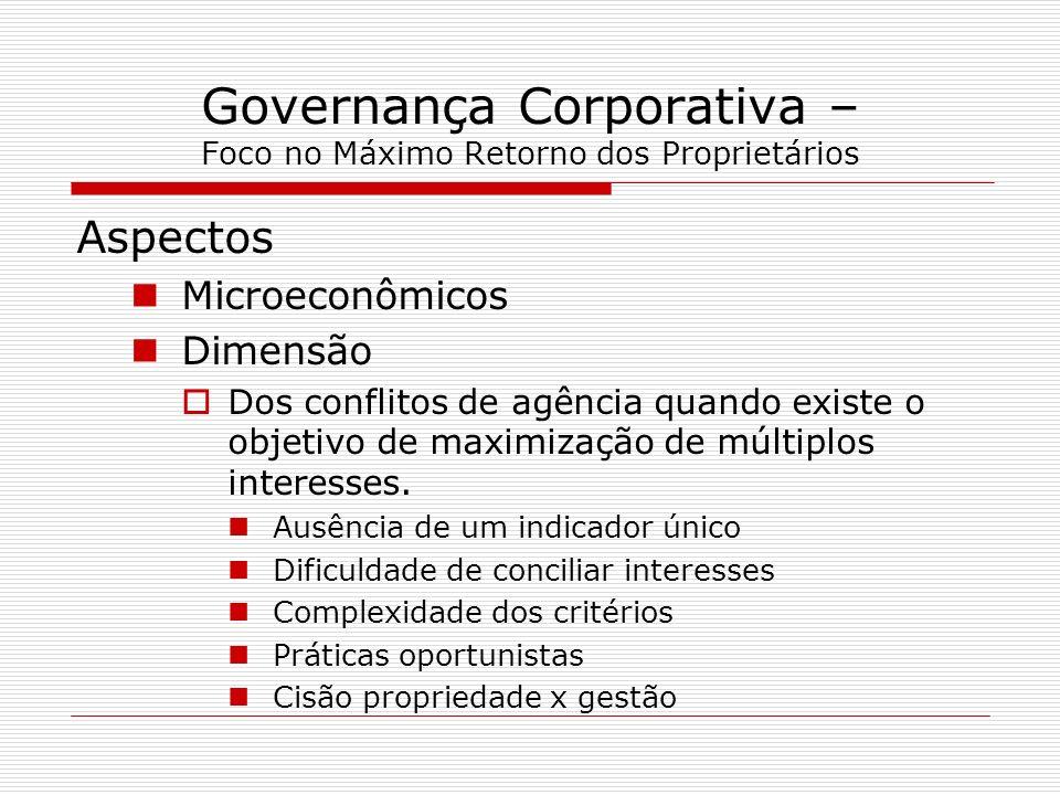 Governança Corporativa – Foco no Máximo Retorno dos Proprietários Aspectos Microeconômicos Dimensão Dos conflitos de agência quando existe o objetivo