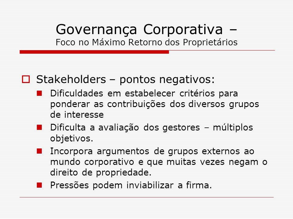 Governança Corporativa – Foco no Máximo Retorno dos Proprietários Stakeholders – pontos negativos: Dificuldades em estabelecer critérios para ponderar