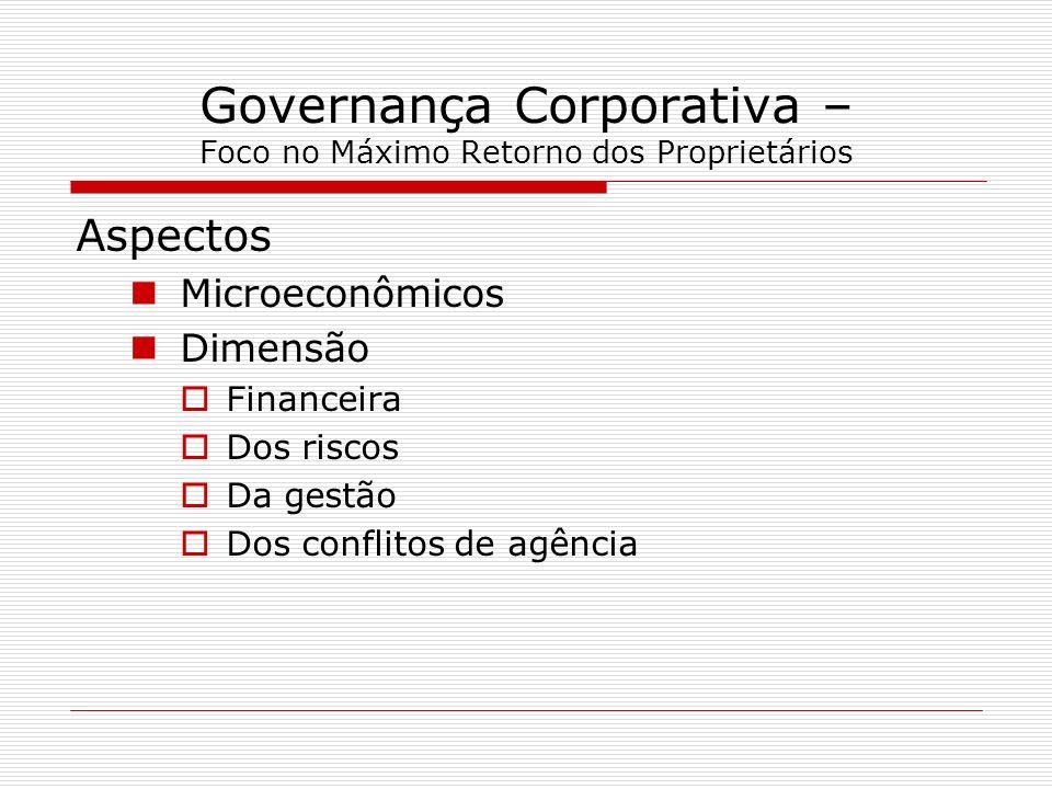 Governança Corporativa – Foco no Máximo Retorno dos Proprietários Aspectos Microeconômicos Dimensão Financeira Dos riscos Da gestão Dos conflitos de a