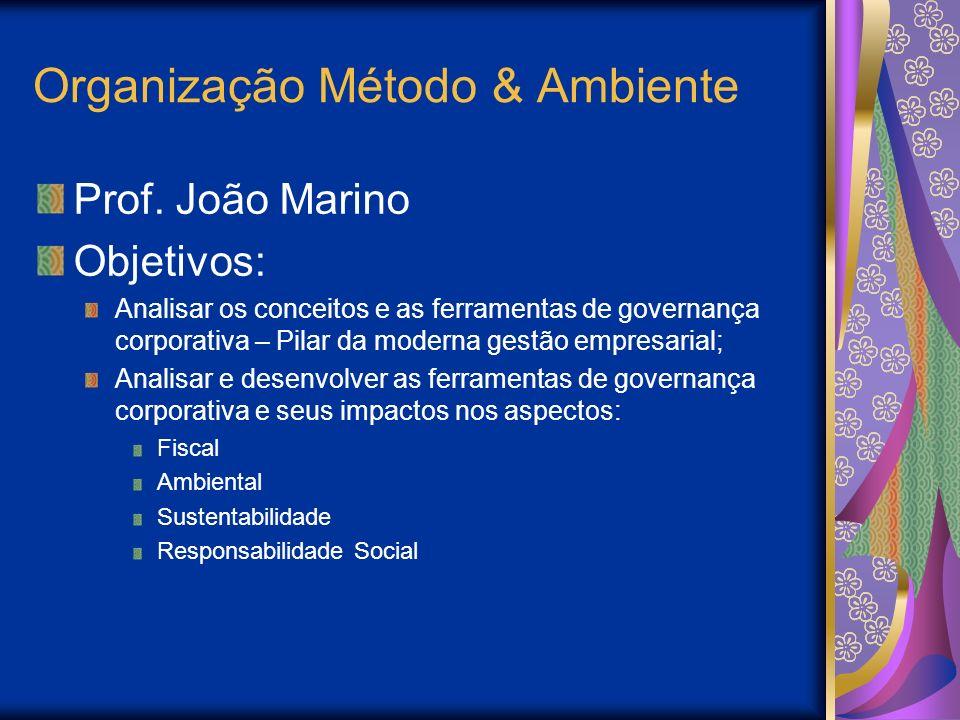 Organização Método & Ambiente Prof. João Marino Objetivos: Analisar os conceitos e as ferramentas de governança corporativa – Pilar da moderna gestão