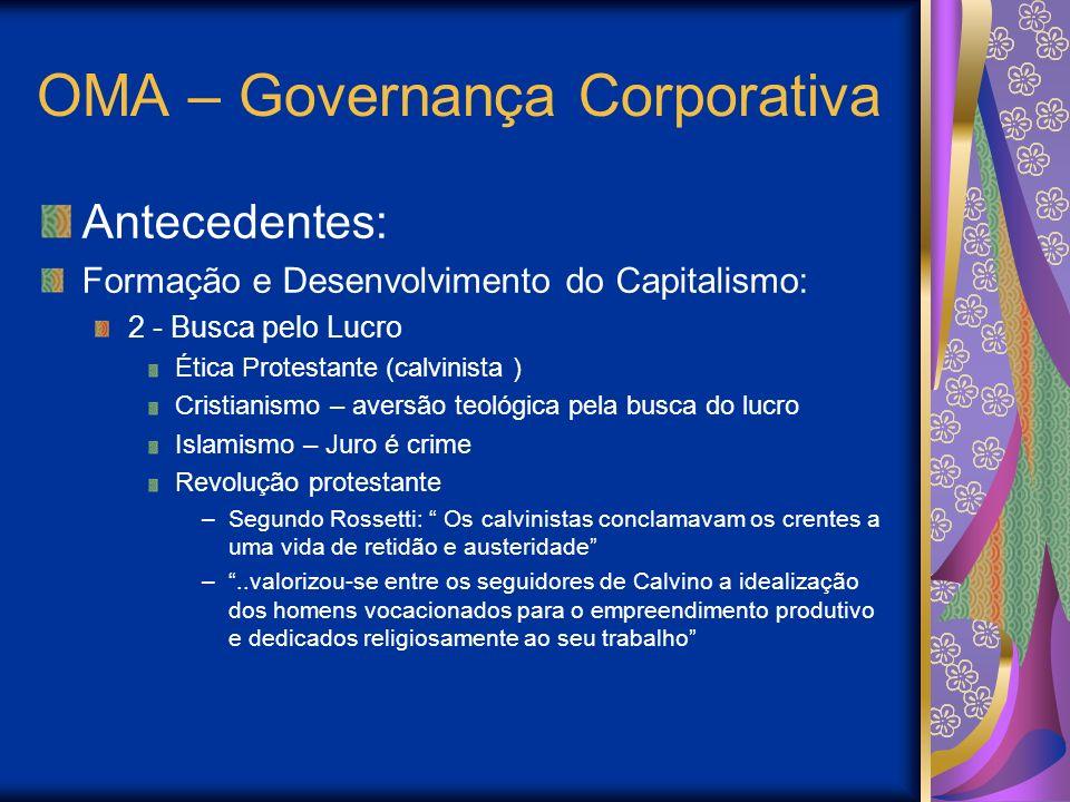 OMA – Governança Corporativa Antecedentes: Formação e Desenvolvimento do Capitalismo: 2 - Busca pelo Lucro Ética Protestante (calvinista ) Cristianism