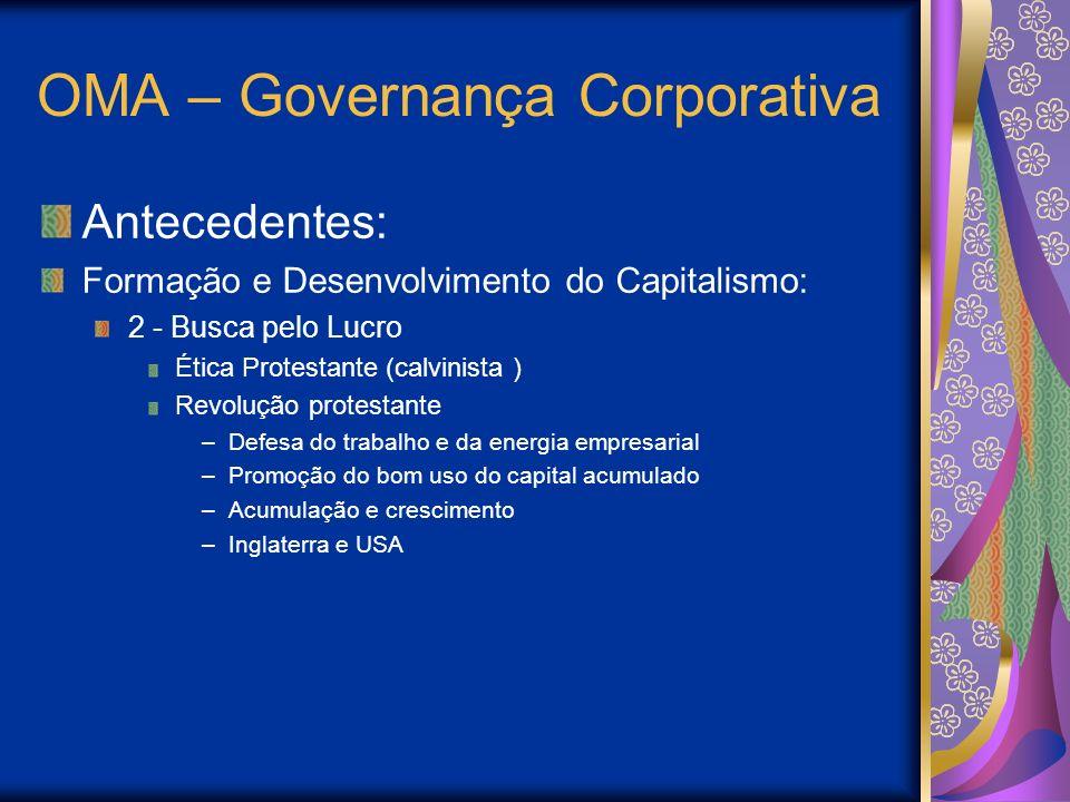 OMA – Governança Corporativa Antecedentes: Formação e Desenvolvimento do Capitalismo: 2 - Busca pelo Lucro Ética Protestante (calvinista ) Revolução p