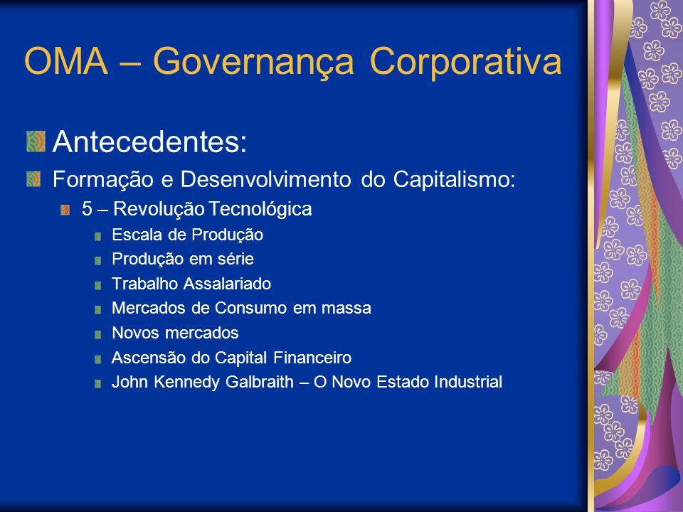 OMA – Governança Corporativa Antecedentes: Formação e Desenvolvimento do Capitalismo: 5 – Revolução Tecnológica Escala de Produção Produção em série T