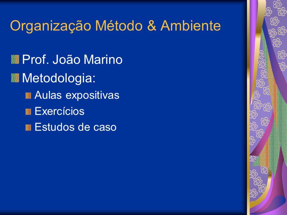 Organização Método & Ambiente Prof. João Marino Metodologia: Aulas expositivas Exercícios Estudos de caso