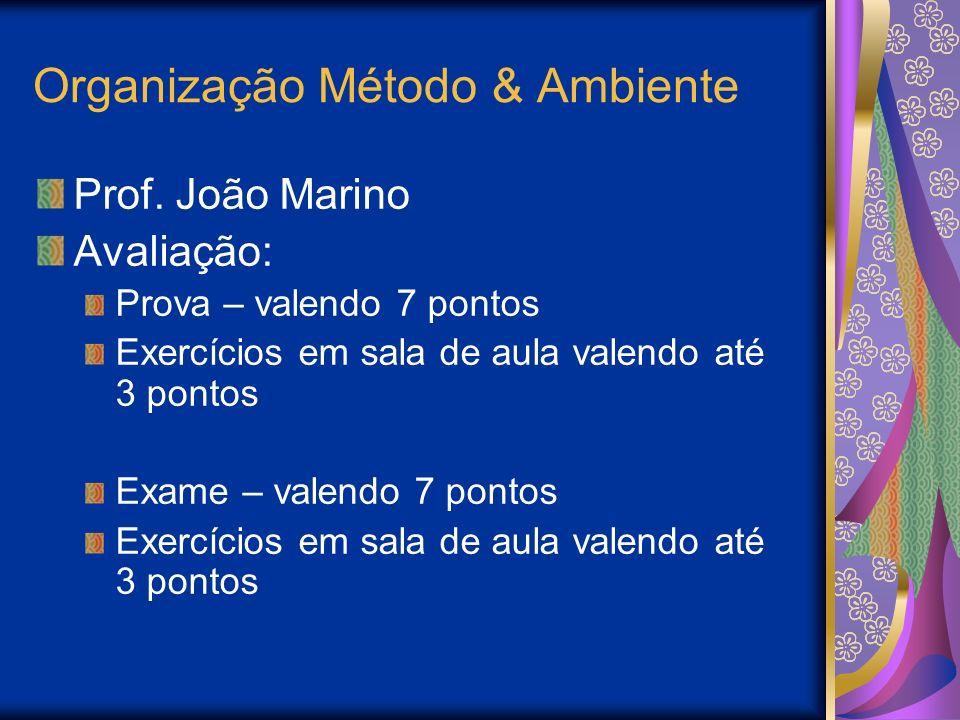 Organização Método & Ambiente Prof. João Marino Avaliação: Prova – valendo 7 pontos Exercícios em sala de aula valendo até 3 pontos Exame – valendo 7