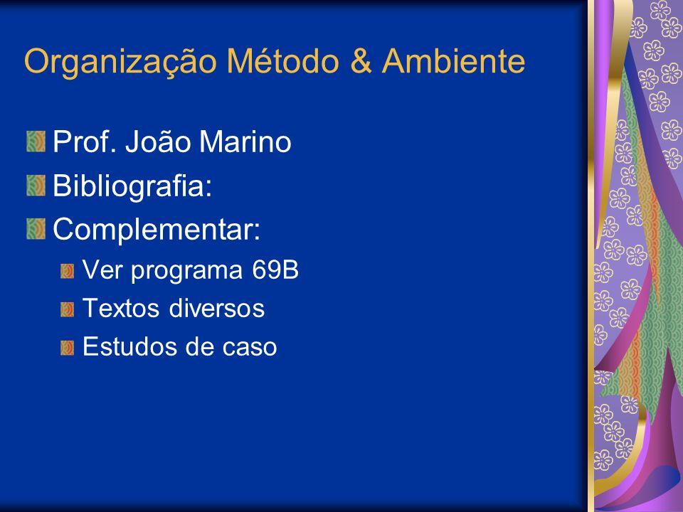 Organização Método & Ambiente Prof. João Marino Bibliografia: Complementar: Ver programa 69B Textos diversos Estudos de caso