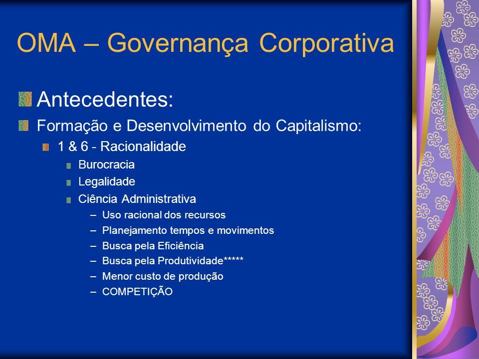 OMA – Governança Corporativa Antecedentes: Formação e Desenvolvimento do Capitalismo: 1 & 6 - Racionalidade Burocracia Legalidade Ciência Administrati