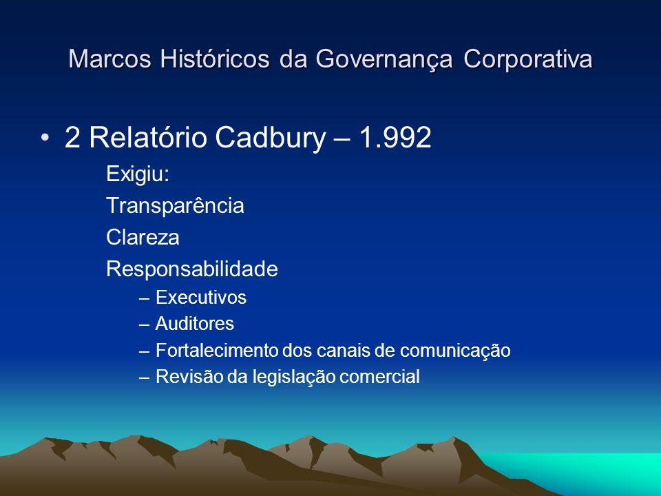 Marcos Históricos da Governança Corporativa 2 Relatório Cadbury – 1.992 Exigiu: Transparência Clareza Responsabilidade –Executivos –Auditores –Fortale
