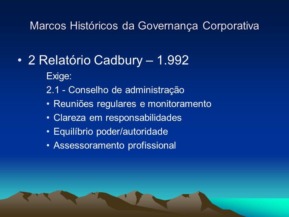 Marcos Históricos da Governança Corporativa 2 Relatório Cadbury – 1.992 Exige: 2.1 - Conselho de administração Reuniões regulares e monitoramento Clar