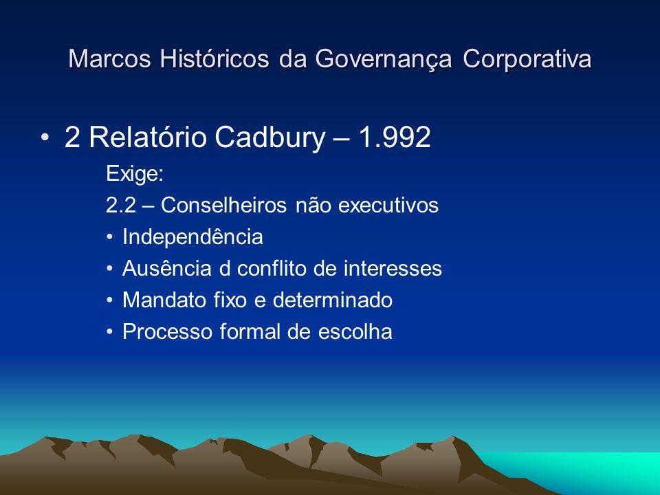 Marcos Históricos da Governança Corporativa 2 Relatório Cadbury – 1.992 Exige: 2.2 – Conselheiros não executivos Independência Ausência d conflito de