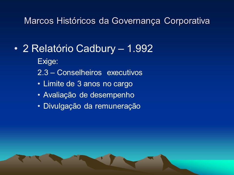 Marcos Históricos da Governança Corporativa 2 Relatório Cadbury – 1.992 Exige: 2.3 – Conselheiros executivos Limite de 3 anos no cargo Avaliação de de