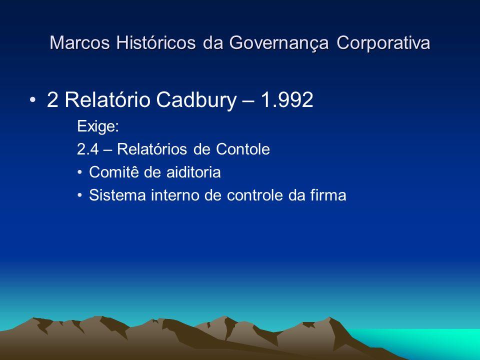 Marcos Históricos da Governança Corporativa 2 Relatório Cadbury – 1.992 Exige: 2.4 – Relatórios de Contole Comitê de aiditoria Sistema interno de cont